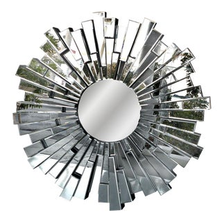 Sculptural Beveled Sunburst Wall Mirror
