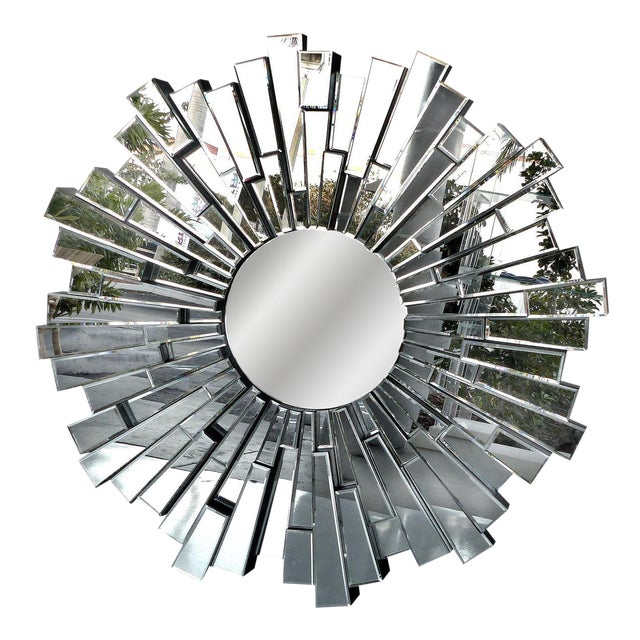 Sculptural Beveled Sunburst Wall Mirror - Image 1 of 7