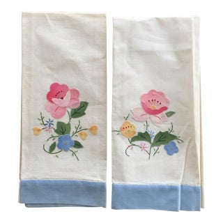 Vintage Floral Appliqué Linen Tea Towels - A Pair