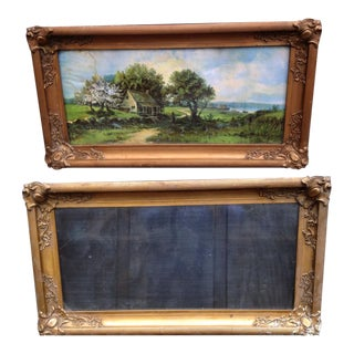 Antique Victorian Worn Gold Finish Plaster Frames - A Pair