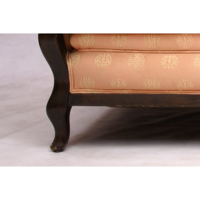 Mid-Century Wood & Asian Upholstery Love Seat - Image 3 of 4