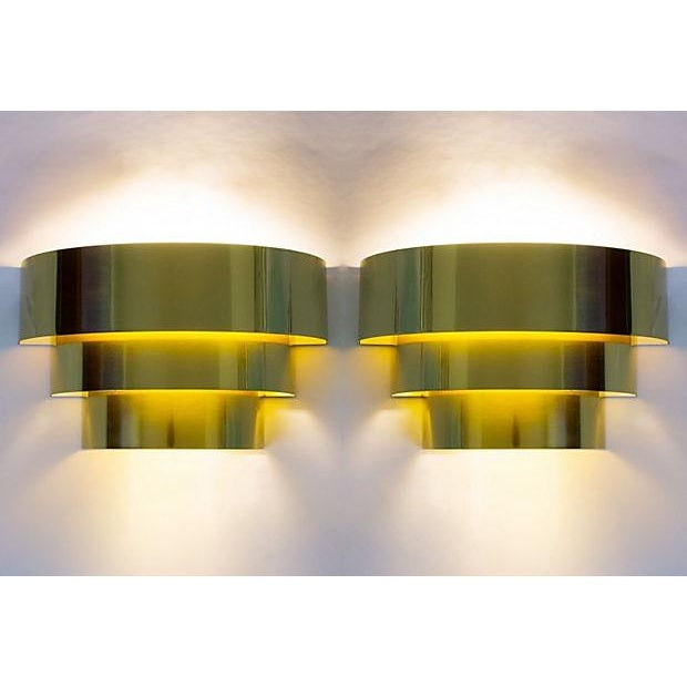 Image of Brass 3-Tier Sconces by Lightolier - Pair