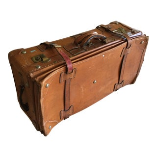 Vintage Russet Leather Double Bellows Suitcase