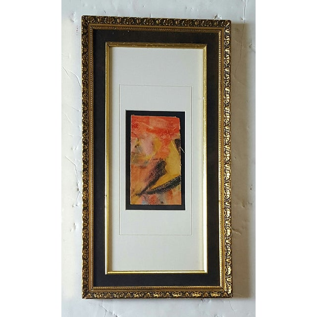 Vintage Framed Freid Abstract Pastel Drawing - Image 2 of 3