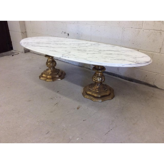 Fuggiti Studios Italian Carrara Marble & Gold Gilt Coffee Table - Image 3 of 11