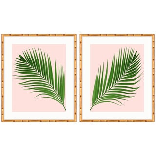 Boho Gold Bamboo Framed Palm Diptych Prints - A Pair