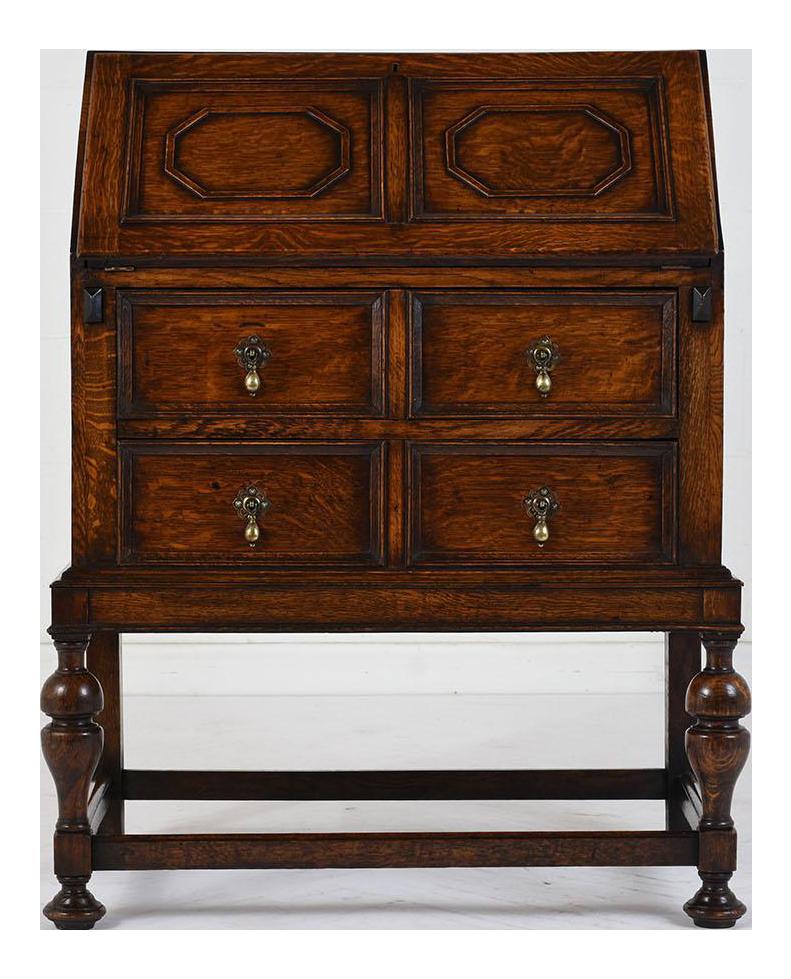 19th Century Jacobean Style Drop Front Desk