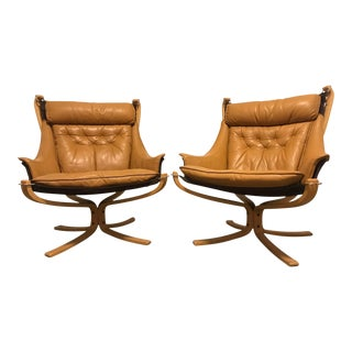 Sigurd Resell Vintage Leather Falcon Chairs - A Pair