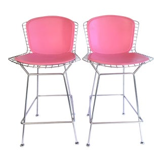 Harry Bertoia Knoll Signed Chrome Bar Counter Stools - a Pair