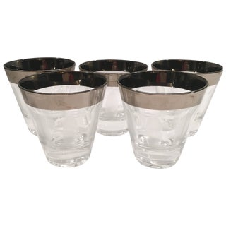Vintage Etched Shot Glasses - Set of 5