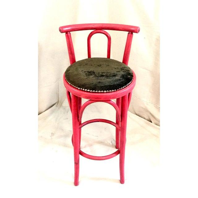 Image of Pink Nailhead Bar Stool