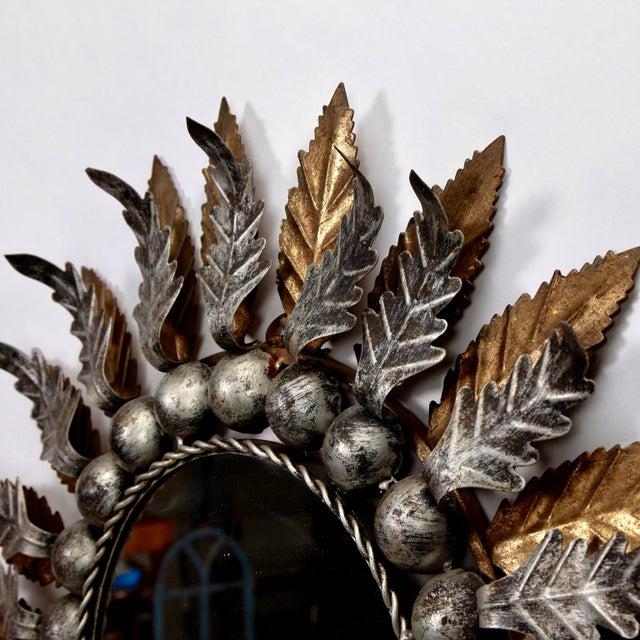 Pair Mid Century Spanish Gilt and Silver Metal Sunburst Mirrors - Image 8 of 9