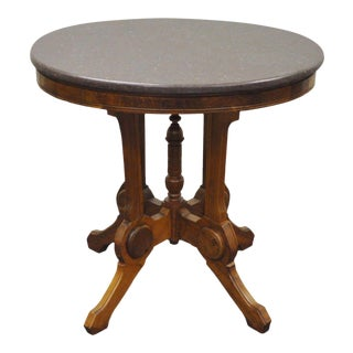 Antique Victorian Marble Top Carved Walnut Side Table