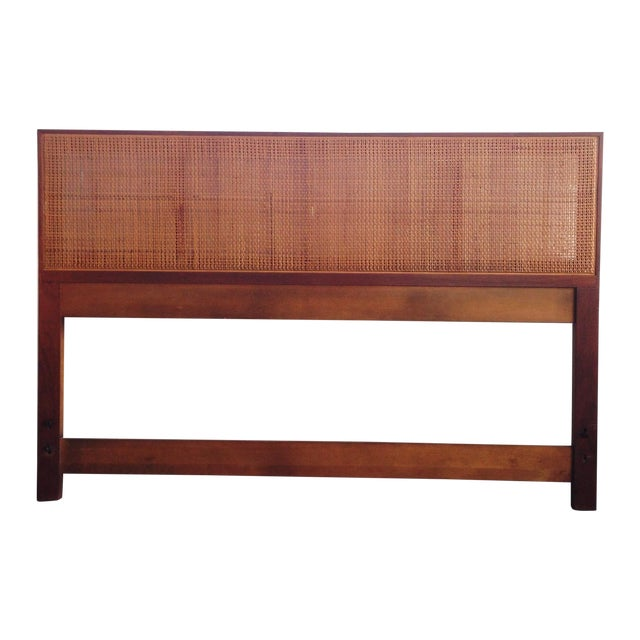 Walnut and Caned Full Headboard - Image 1 of 6