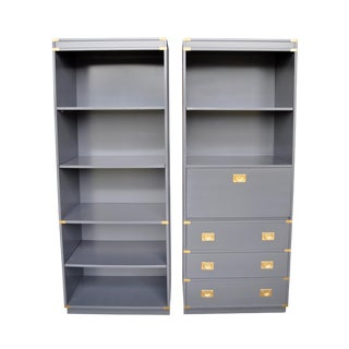 Drexel Gloss Gray Campaign Cabinets - A Pair