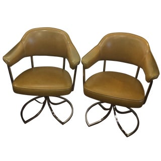 Harvest Gold Leather & Chrome Chairs - A Pair