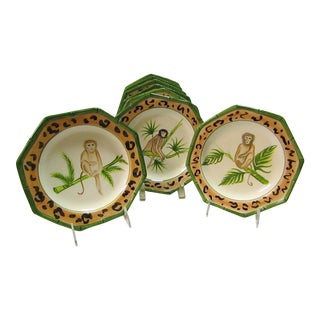 Hand Painted in Italy Tropical Monkey Plates - Set of 8
