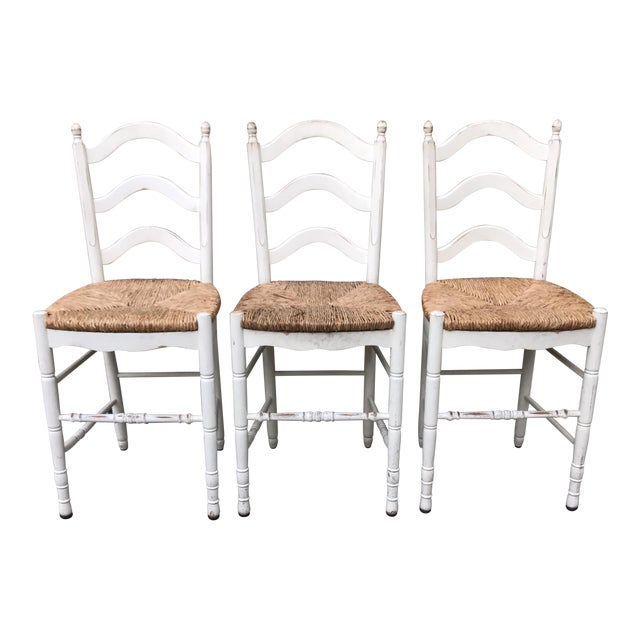 Painted Barstools with Rush Seats -- Set of 3 - Image 1 of 6