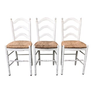 Painted Barstools with Rush Seats - Set of 3