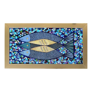 Mid-Century Modern Fish Signed Painting