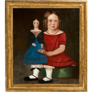 Portrait of a Doll with Seated Girl