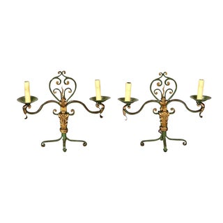 Pair French Two Light Green and Gilt Metal Candelabra Table Lamps