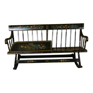 Antique Wooden Mammy Bench Rocker Hand-Painted by Lew Hudnall