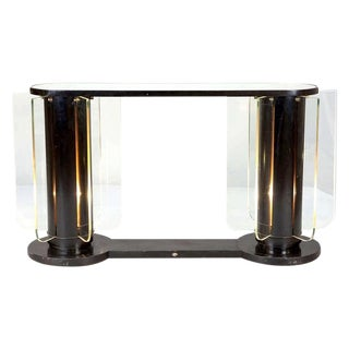 French Art Deco Ebonized Mirror Top Illuminated Console