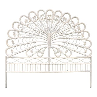 Full White Wicker Peacock Headboard