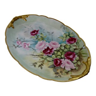 1912 Antique Limoges Hand Painted Rose Platter
