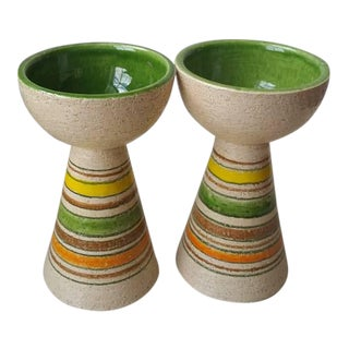 Bitossi Rosenthal Netter Pottery Candle Holders - A Pair