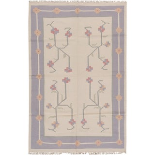 Transitional Persian Apadana Indian Dhurrie Kilim Rug - 6' X 9'