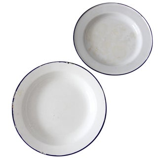 Vintage Enamelware Plates - A Pair