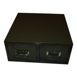Industrial Cole Steel Two Drawer Card Index Filing Box