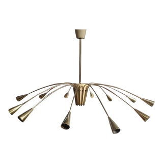 Stilnovo Twelve Light Brass Chandelier