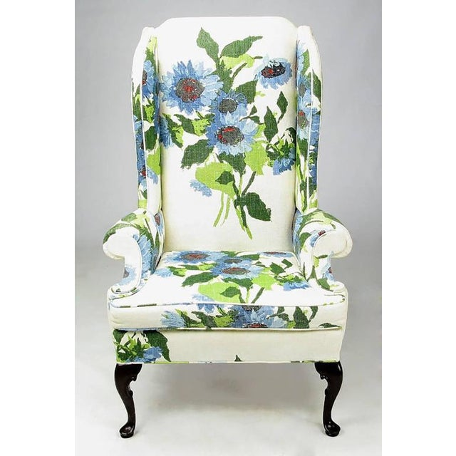 Pair of Elegant and Bold Floral Linen Upholstered Wing Chairs by Hickory Chair - Image 2 of 6