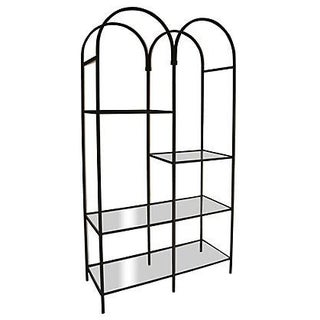 Mid-Century Arched Iron & Glass Étagère