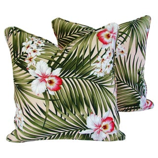 Palm Leaf & Orchid Barkcloth Pillows - Pair