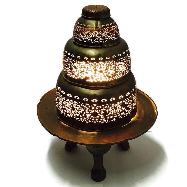 Vintage Morrocan Pierced Brass Floor Lamp - Image 2 of 6
