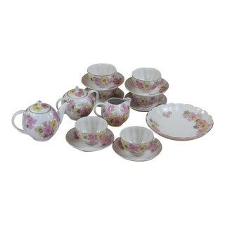 Vintage Pink & Yellow Floral Motif Bone China Ussr Tea Set - Service for 6