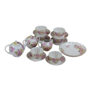 Vintage Pink & Yellow Floral Motif Bone China Ussr Tea Set - Service for 6