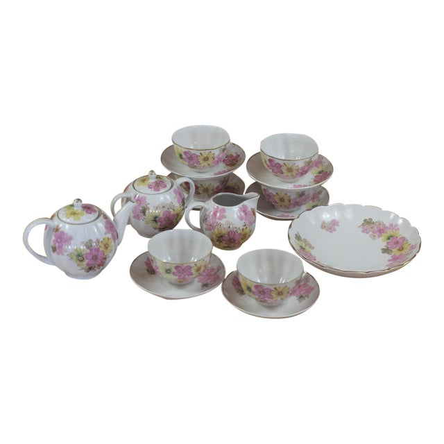 vintage pink yellow floral motif bone china ussr tea set service for 6 chairish. Black Bedroom Furniture Sets. Home Design Ideas