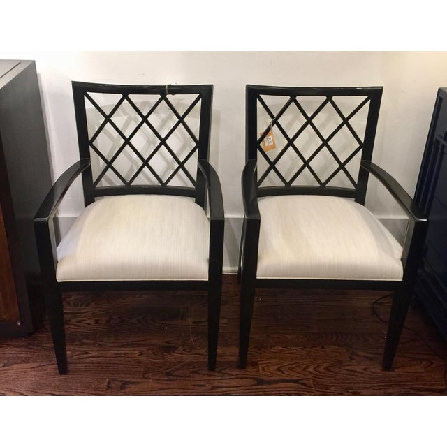 Robert Bryan Home Ebonized Arm Chairs- A Pair - Image 6 of 7