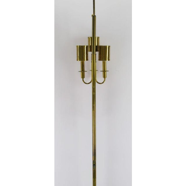 Image of Three Light Pole Lamp With Polished & Pierced Brass Shades
