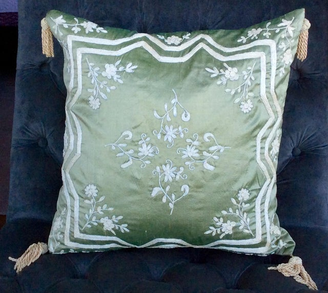 Green Silk Embroidered Accent Pillow Chairish