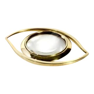 Gold Brass Evil Eye Magnifying Glass Desk Accessory