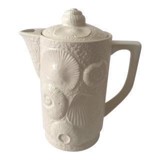 Vintage White Seashell Coffee Pot