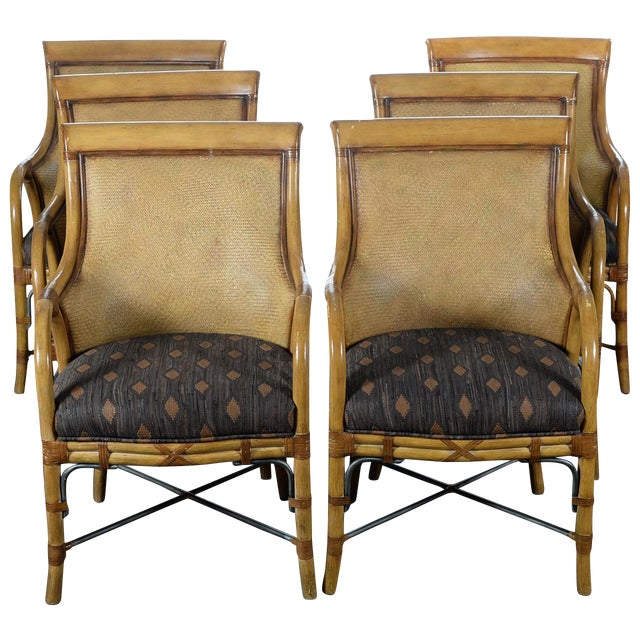 Hollywood Regency McGuire Style Chairs - Set of 6 - Image 1 of 10