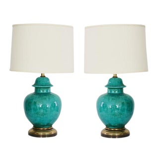 1960's Turquoise Porcelain Regency Urn Lamps - A Pair