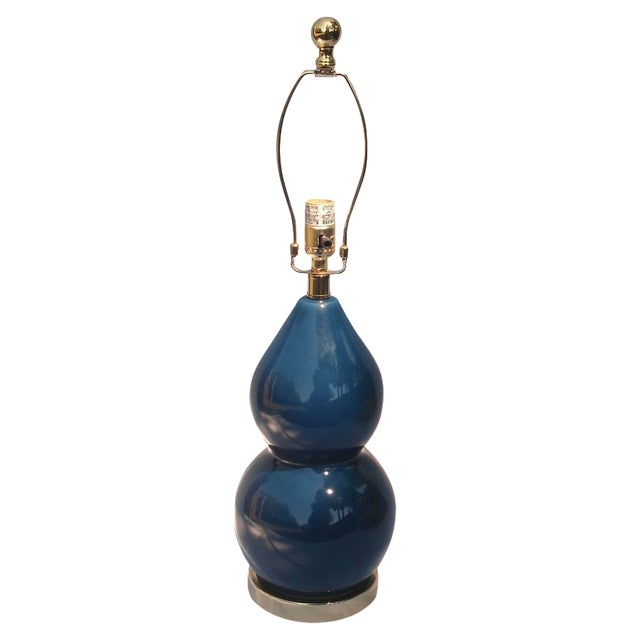Safavieh Navy Blue Gourd Ceramic Table Lamp